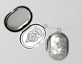 butterfly classic locket silverbase 3D print model