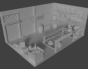 3D model rigged Inside of the Cottage