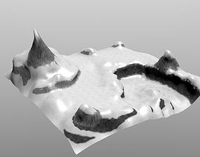 snowy terrain 3D asset