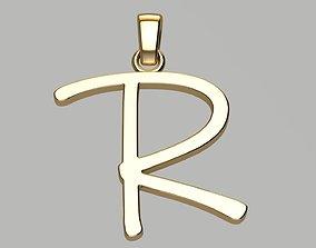 Gold pendant Letter R 3D printable model