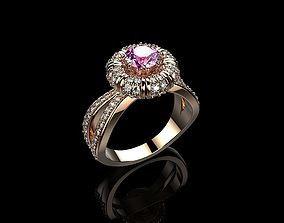 Pink Sapphire And Diamonds Wumen Ring 3D print model