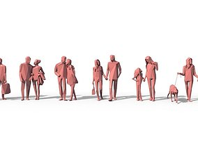 Low Poly Posed People Pack 4 3D model