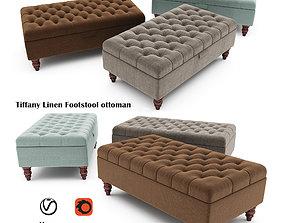 3D Tiffany Linen Footstool ottoman