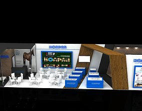 Exhibition Stall Size 17 m x 4 m Height 366 cm 3D model