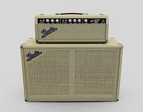 Blonde Vintage 1964 Fender Bassman 6G6B Tube Amp 3D asset
