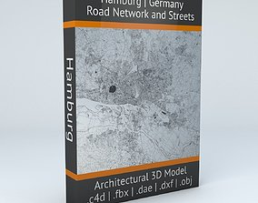 3D navigation Hamburg Road Network and Streets