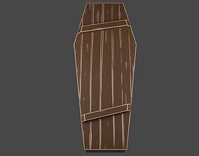 3D asset Stylized wooden coffin