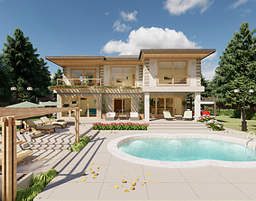 3D brick Villa Design and Landscape Project