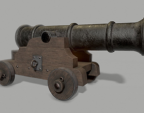 Pirate cannon 3D asset low-poly