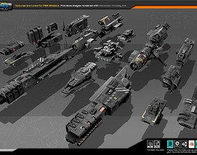 3D asset Modular Space Ship Parts