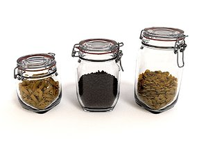 Glass Jar Pack with fillings 3D
