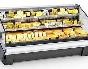 3D model Refrigerated Display Case with Cheese food
