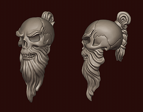 3D print model Skull Sensei with a beard and a pigtail