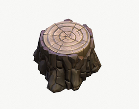 Cartoon Stump 01 3D asset game-ready
