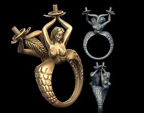 3D print model mermaids pearls ring silver