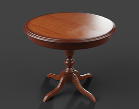 Round wooden coffee table in vintage style 3D asset