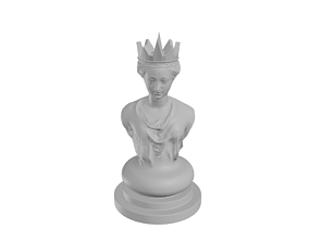 3D printable model Bearded Queen Chess Pawn