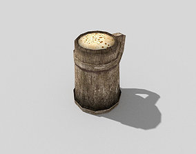 low poly medieval beer 3D asset