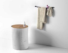 Lipe Waffle Weave Bath Towel with Log Table 3D model