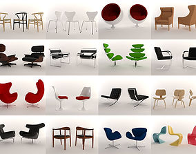 3D model 16 Low Poly Design Chairs