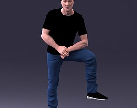 3D Man in black t-shirt and jeans 1201