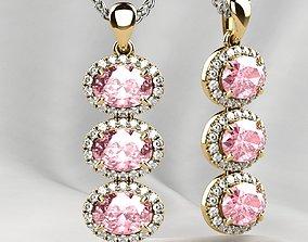 3D print model Pink Sapphires Oval Gold Pendant