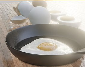 3D asset VR / AR ready boiled eggs fried eggs and frying