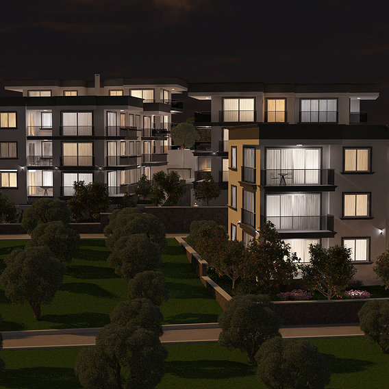 Apartment buildings night view