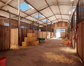3D asset Modern Horse Stable Environment and Props