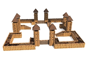 low-poly Castle Model FULL Set 40k Object
