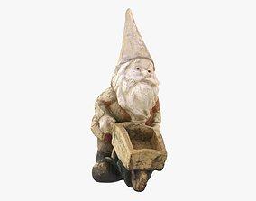 3D asset Garden gnome with wheelbarrow