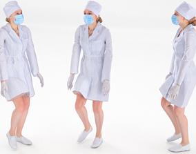 3D model Scan rigged female medical nurse 01