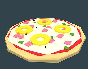 Low-poly stylized pizza hawaii 3D model realtime