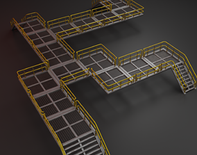3D asset Modular industrial catwalk