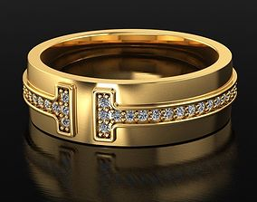 3D print model T-style Pave Diamond Ring