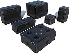 Sci Fi black cargo crates 3D asset realtime