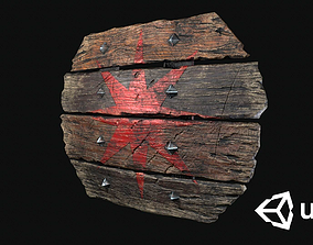 Old Wooden Shield - PBR Game Ready Low-poly 3D game-ready