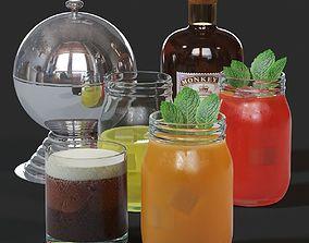 Cocktails set 3D model