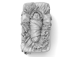 3D print model Baby Jesus Christ in a Crib medallion