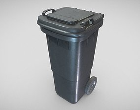 3D model Black Plastic Waste Bin 60 Liters 945x360x448