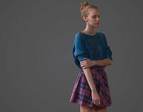 3D model Girl posing in skirt