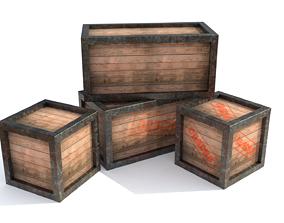 3D model Wooden box shell