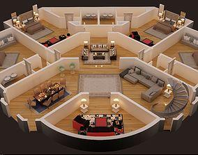 3d floor plan of first floor luxury house