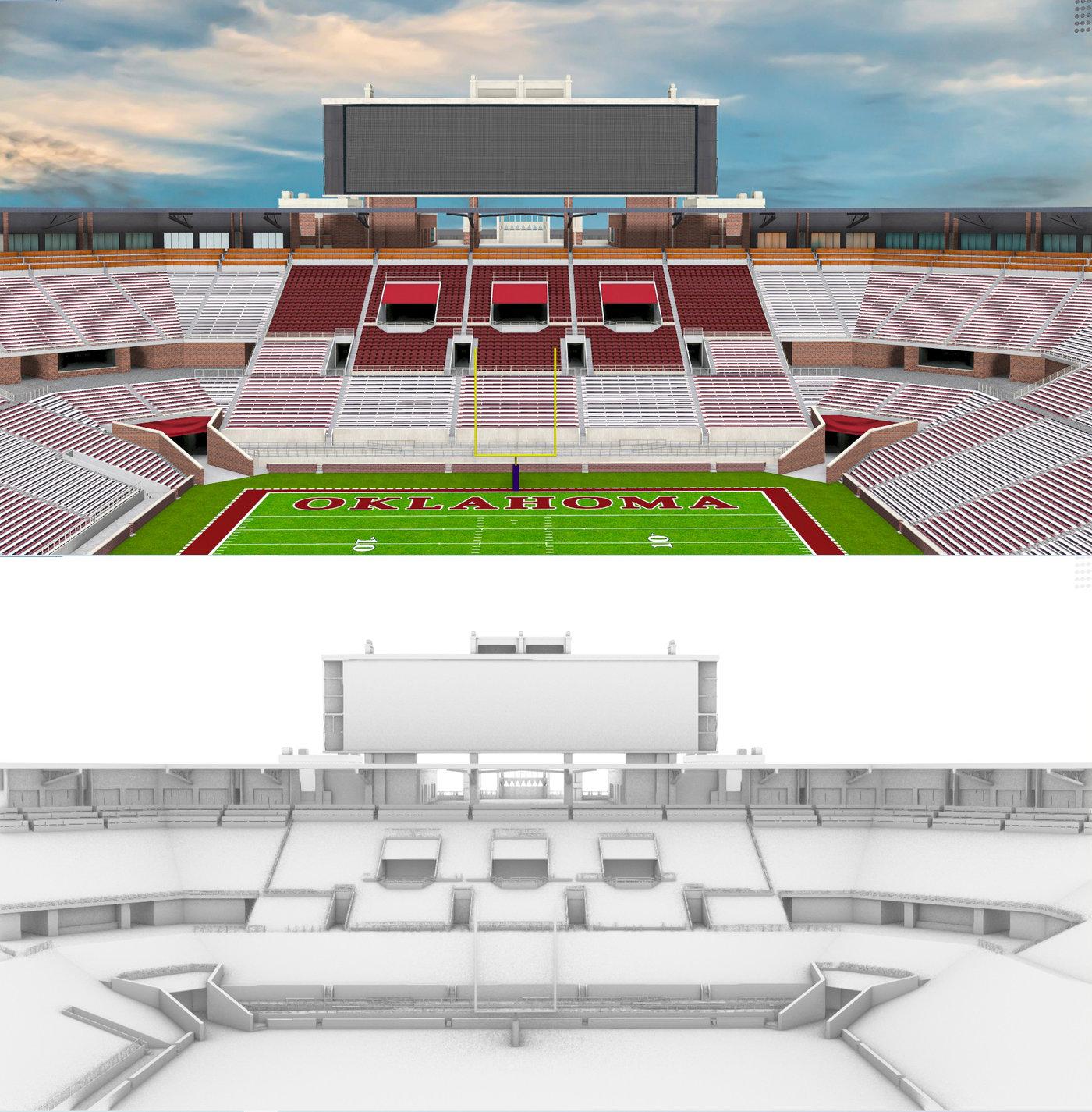 Gaylord Family Oklahoma Memorial Stadium 3d