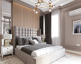 Bedroom interior 3D model bed tv