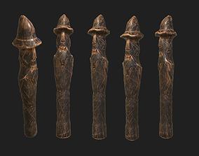 3D model Polished Slavic Wooden Medieval Settlement Totem