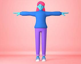 Cartoon Character young woman 3D