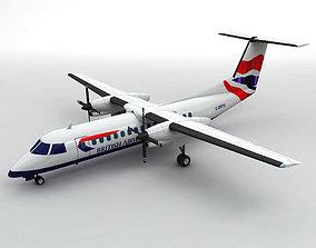 3D model Dash 8-300 Airliner British Airways