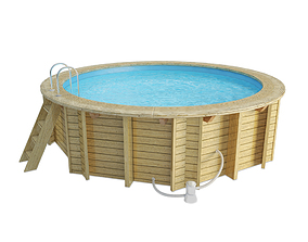 3D model Wooden Round Swimming Pool