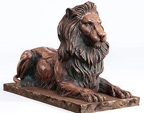 3D asset The lying Bronze Lion Lowpoly PBR